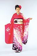 1123 ピンク系 濃いピンクラメ入り小花柄 サムネイル