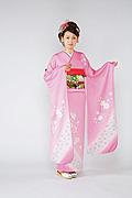 1227 ピンク系 サーモンピンク小花柄前面写真