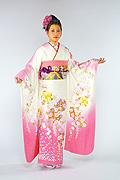 1254 白系 ピンク染め分け花丸 tt-b振袖美術館 サムネイル