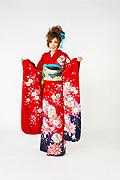 1341 赤系 裾紺紫ラメ入り花柄 サムネイル