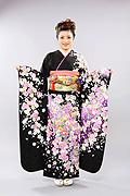 1390 黒系 ラメ入り飾り紐、紫小花柄 tt-b振袖美術館 サムネイル
