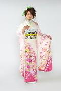 1429 白系 ピンク花、手毬柄 サムネイル