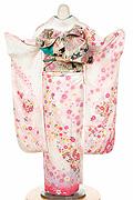 1429 白系 ピンク花、手毬柄背面写真