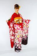 1431 赤系 ラメ入り飾り紐、牡丹柄 tt-b振袖美術館 サムネイル