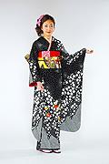 1457 黒系 総絞り花丸刺繍古典モダン柄 サムネイル