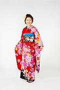1514 赤系 ラメ入り牡丹、蝶、桜柄tt-b128ベッキ- サムネイル