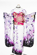 1520 白系 裾黒、蝶と紫の牡丹柄 tt-bn125背面写真