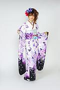 1546 白系 裾黒、蝶と紫の牡丹柄 tt-bn125 サムネイル