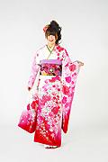 1550 白系 ピンクラメ入り裾赤、白とピンクの大小菊、牡丹柄 tt-b222 サムネイル