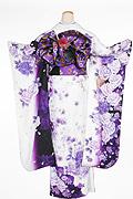 1641 白系 ラメ入り紫の薔薇、蝶柄 tt-bn310背面写真