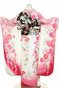 1655 白系 ピンクラメ入り裾赤、白とピンクの大小菊、牡丹柄 tt-b222背面写真