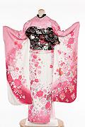 1735 白系 ピンクラメ入り裾赤、白とピンクの大小菊、牡丹柄 tt-b323 桂由美背面写真