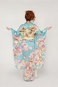 1756 青系 桜、菊、牡丹、花手まり古典柄背面写真