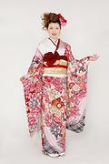 1757 赤系 総絞り桜、菊、藤の花柄 tt-bfs627 サムネイル