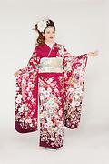 1763 赤系 藤、桜、笹と辻が花柄 サムネイル