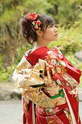 1779 赤系 古典、花のしめ模様色とりどり背面写真