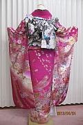 1786 ピンク系 濃いピンク&ゴールド、ゴージャスな蝶柄 tt-fs607背面写真