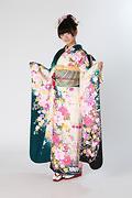 1824 緑系 白染分菊牡丹桜柄 サムネイル