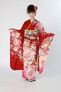 1836 赤系 裾ピンクラメ入り牡丹菊桜柄 サムネイル