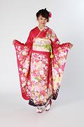 1839 ピンク系 ラメ入り牡丹菊桜柄 サムネイル