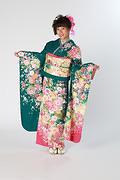 1840 緑系 ラメ入り古典牡丹菊桜柄 サムネイル