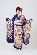 1879 紺系 流水桜 、古典柄 サムネイル
