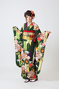 1899 緑系 矢羽、笹、菊、桜柄 サムネイル