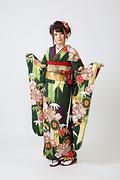 1915 緑系 矢羽、笹、菊、桜柄前面写真
