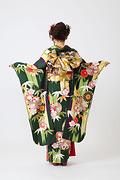 1915 緑系 矢羽、笹、菊、桜柄背面写真
