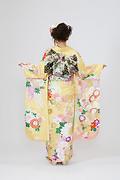 1898 黄系 ボタン菊・まり、古典柄背面写真