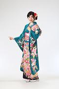 1960 緑系 のし目鞠と桜柄 サムネイル