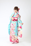 1976 青系 水色疋田に桜と飾り紐 古典柄 サムネイル