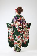1978 緑系 紅型 松竹梅 古典柄背面写真