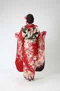 1993 赤系 手毬に桜と菊 古典柄背面写真