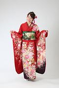 1993 赤系 手毬に桜と菊 古典柄 サムネイル