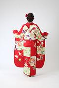 2011 赤系 市松に矢羽と麻の葉背面写真