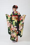 2030 緑系 大きな矢羽、笹と菊柄 サムネイル