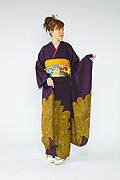 607 紫系 ラメ入り大輪の花柄 サムネイル