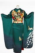 618 緑系 深グリーン白い小花、金の蝶柄背面写真