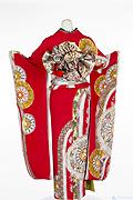 675 赤系 チェリーピンク古典風モダン柄背面写真