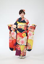 2043 紺系 万寿菊と梅 レトロ サムネイル