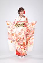 2074 白系 桜流水に手毬と牡丹 サムネイル