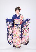 2077 紺系 桜流水に手毬と菊重ね サムネイル